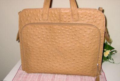 Handbag Purse - Leather Bag Purse - Ghibli Ostrich Embossed Leather Laptop Bag Briefcase Office Tote