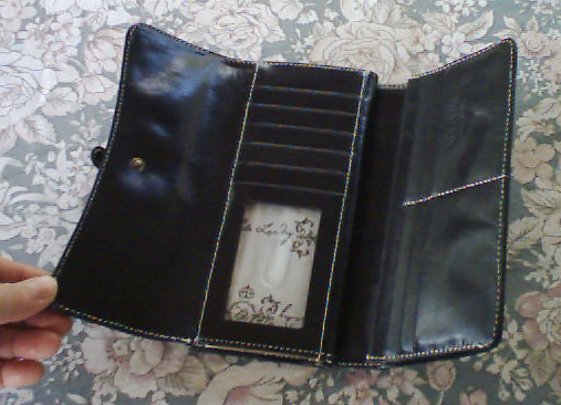 Hype Checkbook Clutch Wallet Black Leather NWT