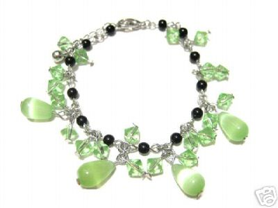 Green Lampwork Murano Glass Beads Bracelet Hand Made