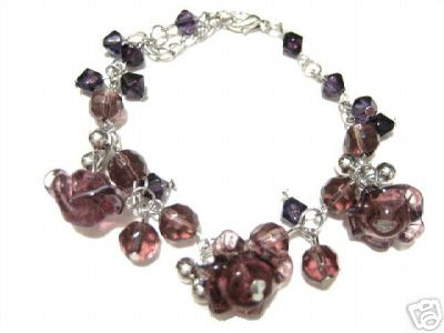 Murano Glass Bracelet Lampwork Designer Beads Purple :  bracelet classictreasures classic treasures murano glass