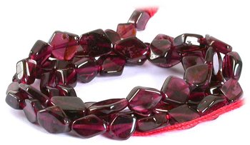 Gemstone Beads - Garnet Gem Beads - Garnet Gem Beads Hexagon Shape Natural Mozambique 15'' Strand