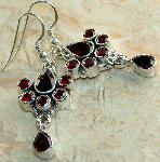 Garnet earrings sterling silver genuine gemstone jewelry :  gemstone garnet gem gems