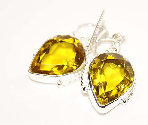 Citrine Gemstone Dangle Earrings Sterling Silver