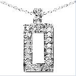 Genuine Diamond Necklace Pendant Sterling Silver unisex
