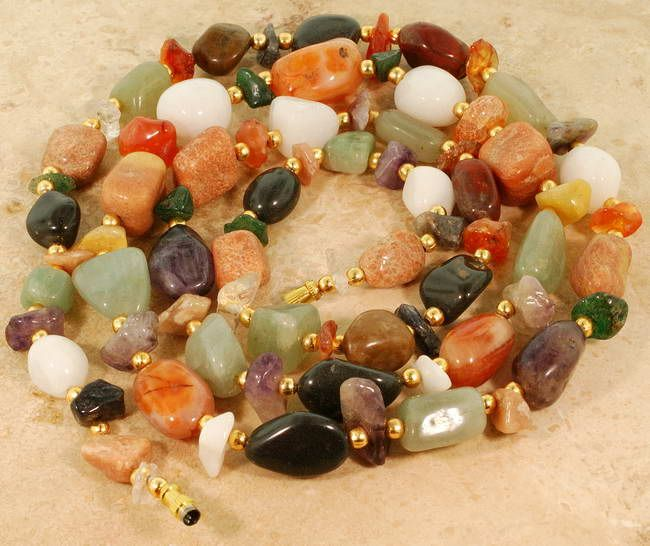 Mixed Gemstone Vermeil Necklace 35'' :  necklace natural gems classic treasures colors