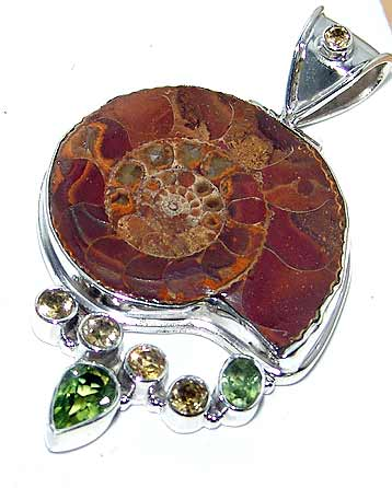 Ammonite Fossil Peridot Citrine Sterling Silver Pendant :  gemstones classic treasures ammonite fossil ancient