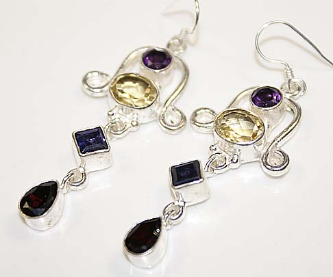 Garnet iolite citrine earrings sterling silver dangle
