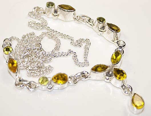 Yellow citrine sterling silver necklace 18 inches long