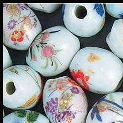 Porcelain glass beads spring floral oval