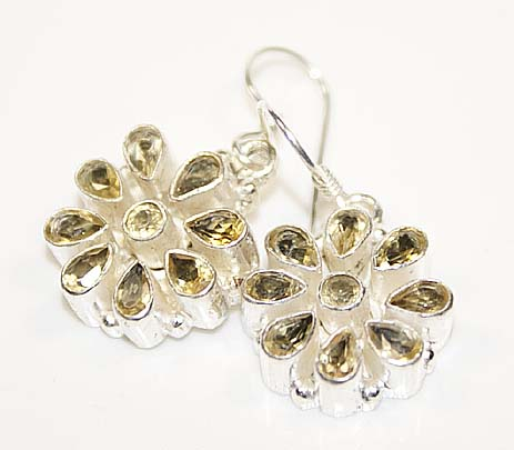 Citrine Sterling Silver Flower Earrings