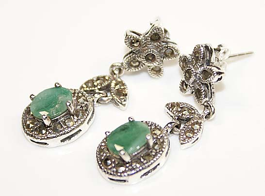 Genuine emerald gemstone Marquasite earrings silver