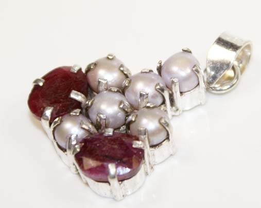 Genuine Ruby FW Pearl Sterling Silver Pendant