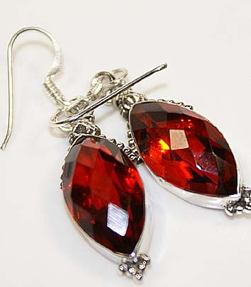 Garnet Sterling Silver Dangle Earrings :  gemstone classic treasures earrings silver