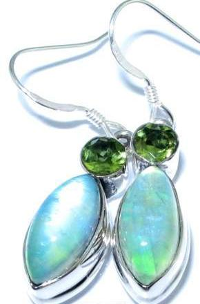 Aqua Moonstone Earrings Green Peridot Gems Silver jewelry