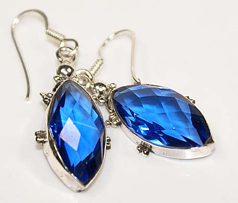 Iolite gemstone earrings sterling silver