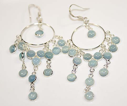 Blue chalcedony dangle earrings sterling silver