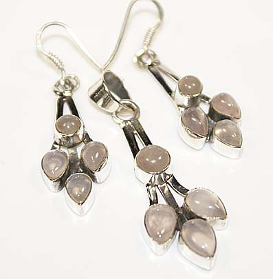 Rose quartz earrings pendant set sterling silver gemstone jewelry