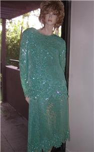 Aqua Blue 100% silk dress evening gown 1X plus beaded