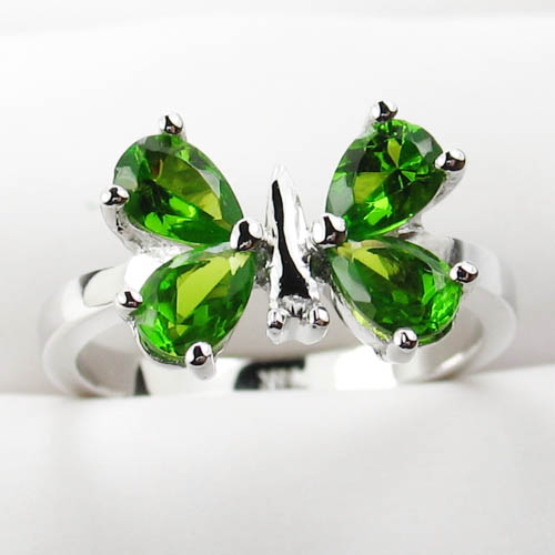 Sterling silver peridot gemstone butterfly ring gemstone jewelry