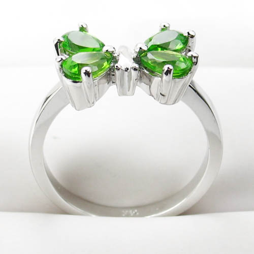 Sterling silver peridot gemstone butterfly ring gemstone jewelry
