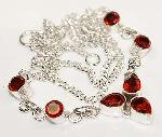 Garnet necklace gemstones sterling silver