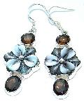 Abalone pearl earrings shell smoky topaz 925 silver gemstone jewelry