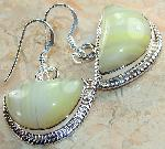 Green earrings Botswana Agate 925 silver :  gemstones jewellery green agate classic treasures