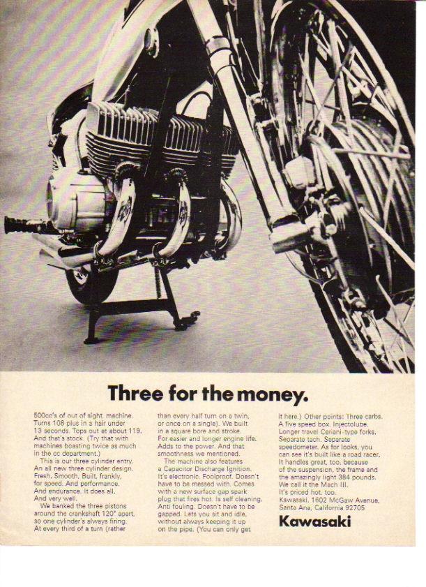 1969 Kawasaki 3 Cylinder Mach Iii 3 Motorcycle Engine Ad