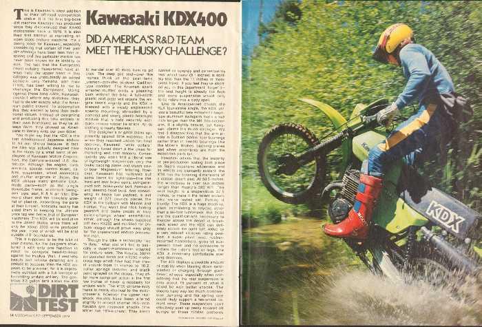 1979 Kawasaki Kdx 400 Motorcycle Dirt Road Test 6 Page Article