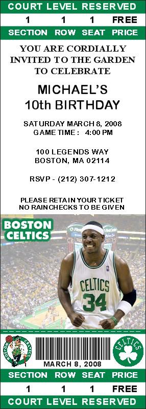 Boston Celtics Ticket Invitations - Pierce