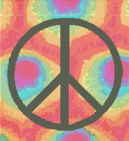 HIPPY Tie Dye Peace Symbol CROSS STITCH PATTERN CHART