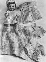 13 18   DOLL CLOTHES Knitted Outfit KNITTING PATTERN 8pc