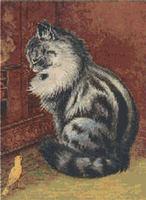 Cat and Canary Cross Stitch Pattern