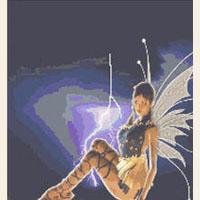 Storm Fairy Sitting Lightning CROSS STITCH PATTERN