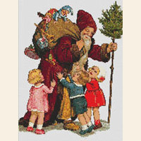 VICTORIAN CHRISTMAS Santa Children CROSS STITCH PATTERN