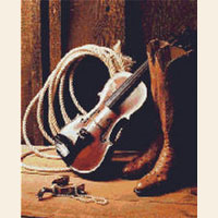 Cowboy Western Boots Fiddle Rope CROSS STITCH PATTERN