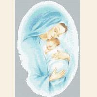 Blue Madonna & Child Christmas CROSS STITCH PATTERN CHART
