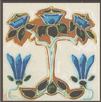 Art Nouveau Blue Roses Tree Cross Stitch Pattern Chart