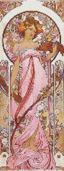 Cross Stitch Patterns Art Nouveau Mucha Lady In Pink