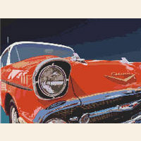 1950s Vintage Red CHEVY Chevrolet CROSS STITCH PATTERN