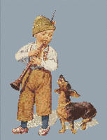 Boy With Flute and Dachshund Cross Stitch Pattern