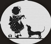Girl Dachshund Dog Silhouette CROSS STITCH PATTERN CHART