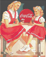 COCA COLA AD 1950 S Mother and Daughter in Red CROSS STITCH PATTERN CHART