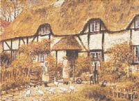 English Thatched Cottage Cross Stitch Pattern Chart
