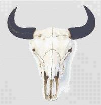 BISON BUFFALO Skull CROSS STITCH PATTERN Western