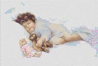 Child Sleeping With Teddy Bear CROSS STITCH PATTERN CHART