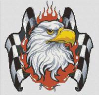 Eagle Auto Racing Nascar Cross Stitch Pattern Chart