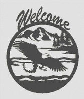 Eagle Welcome Silhouette CROSS STITCH PATTERN CHART