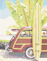 FORD WOODY & SURFBOARD   CROSS STITCH PATTERN