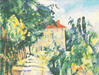 Cezanne House With Red Roof Cross Stitch Pattern Chart